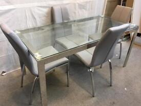 New glass table and 4 chairs