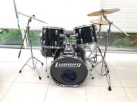 Ludwig Vintage 1994 Black Rocker Drum Kit - Outstanding Condition - Ready to Gig !! Huge Sound.