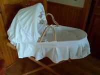 Moses Basket with stands and bedding, two available