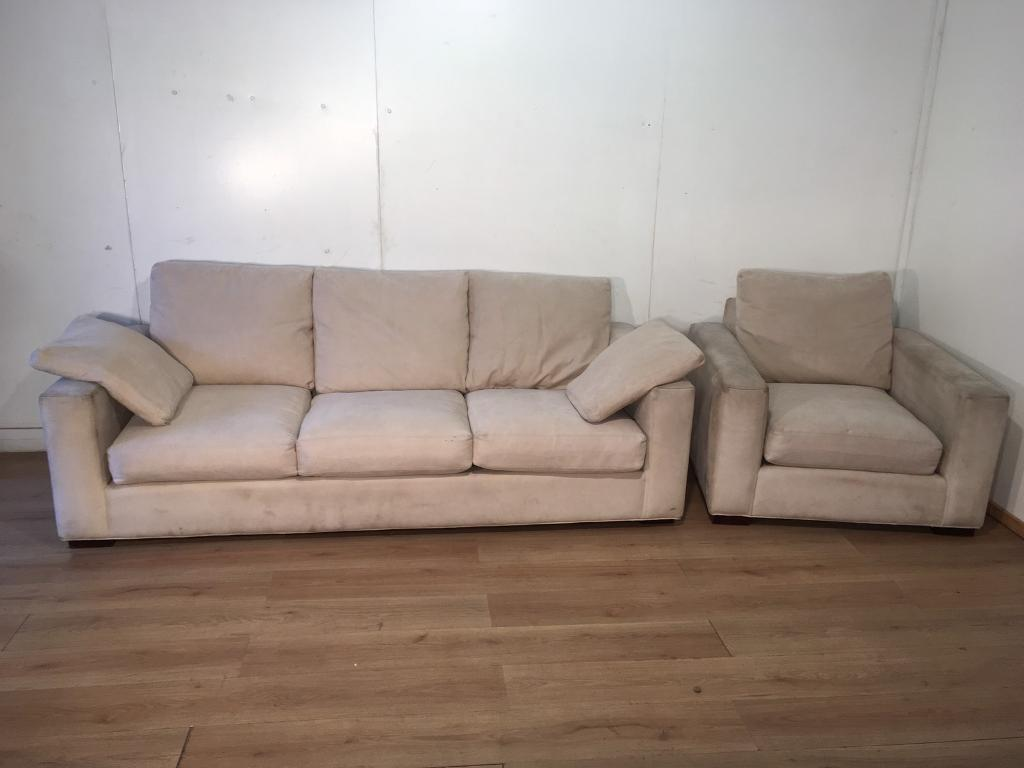 Beige 3 seater sofa and armchair with free delivery within London
