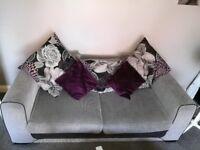 Sofa swivel love chair and half moon pouffe
