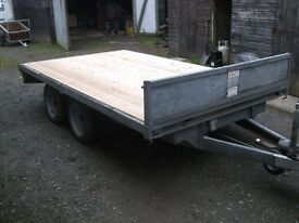 Bateson Twin Axle Flatbed Trailer with Ramps Rare new floor.