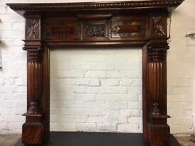 Stunning arts and crafts style solid mahogany fireplace fire surround FREE DELIVERY MOST UK