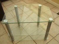 Glass and Silver Television Table with 2 Shelves