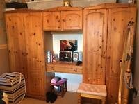 Pine wood double wardrobes