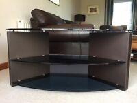 TV Corner Stand - Brown Leather