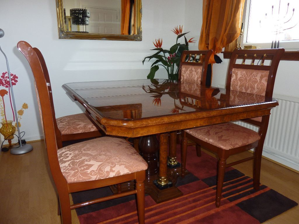 Italian Style Dining Table And 4 Matching Chairs In