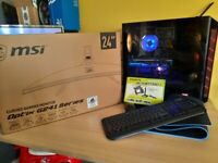 Gaming pc with new monitor and accessories