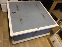 Old wooden storage chest, Grey and White