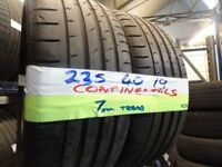 MATCHING PAIR 235 40 19 contisports 7mm TREAD £90 PAIR SUP & fittd 7dys (punct £8) opn sunday 4pm