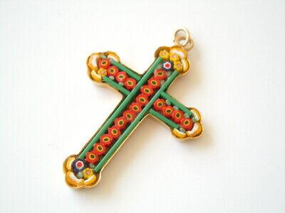 omosaik Kreuz Anhänger Rot/Grün/Gelb 4,4 g / 4,9 x 3,1 cm (Mosaik Kreuz)