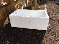 White butler sink for garden planting