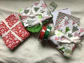 Three /Bundles Xmas fat quarters + Two reels Ricrac braid.