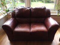 Lovely soft Italian leather 2 seater sofa and armchair.