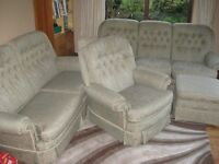4 piece Suite by Vale inc 3 & 2 seater settees, single chair & storage stool