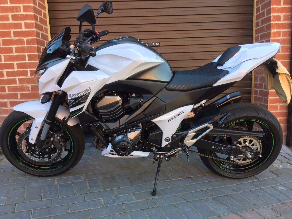Kawasaki Z800 White 2015 Inc Akrapovic Exhaust Rizoma Tail Tidy More