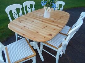 Pine Farmhouse Table and Six Chairs - Professionally re-furbished