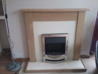 Electric fire with oak shelf and yellow panel