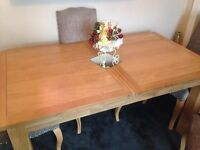 EXTENDING OAK DINING TABLE - SEAT UP TO 8
