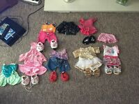 Collection of Build a Bear Clothes , including Harley Davidson Jacket and roller skates