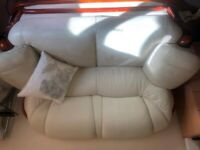 Cream Faux Leather Settee