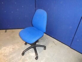 Blue Swivel, Home Office Chair No Arms