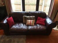 2 Laura Ashley Brown Leather Sofas