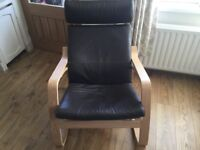 Ikea Poang leather rocking chairs