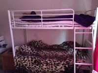 Children's White metal frame bunk beds (singles)