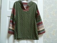 Ladies retro paisley top, size 10/12, green/brown cotton, long bell sleeves