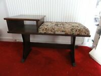 Solid Dark Oak Telephone Table/Seat with Tapestry Covering