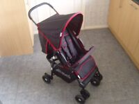 Hauck Lightweight Black with Red Trim Pushchair Stroller Buggy in Good Condition Hardly Used