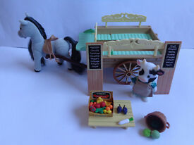 Sylvanian families farm cart with figures and accessories