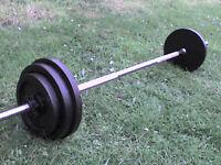 78 lb 35 kg Metal Barbell Dumbbell Spinlock Bar & Weights - Heathrow
