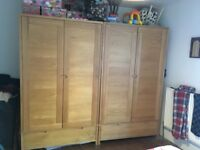 2x Ercol double wardrobes