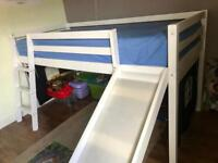 KIDS WHITE CABIN BED WITH LADDER AND SLIDE SOLD