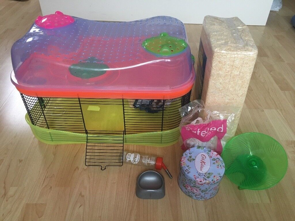 Hamster cage and starter kit (accessories, food, bedding