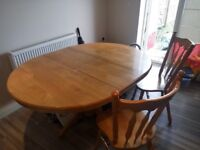 SOLID OAK dining table + 2 matching chairs