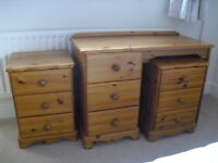 Two pine 3 drawer chest/bedside tables and pine dresser