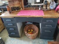 VINTAGE Oak desk, painted and stripped on the top