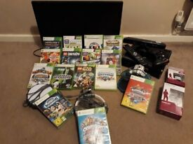 """Xbox 360 c/w 2x Wireless Controllers, Kinect, 15 Games and 3x Skylander Portals. Plus 24"""" Television"""
