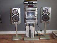 Sony stereo system with turntable and mini disc system