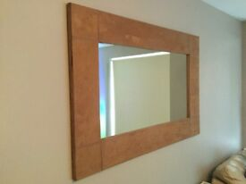 Large mirror with suedette frame