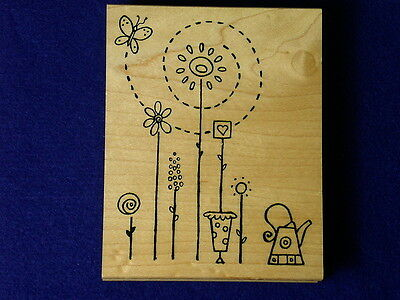 Great Impressions Flower Watering Can Butterfly Planter Pot Sun Rubber Stamp