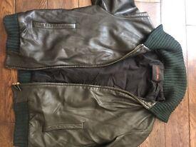 Hunter Green Bally Leather Jacket