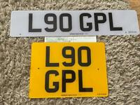 L90 GPL private cherished personalised personal registration plate number fee included