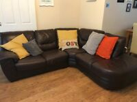 Brown leather corner suite for sale