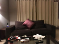 Two matching 3-seater sofas. Excellent condition, very comfortable, Grey/brown velvety fabric