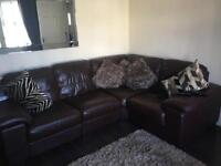 Brown leather corner sofa (comes with extra seat and foot stool)
