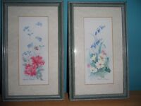 TWO SMALL FRAMED PICTURES - FLOWER DESIGN